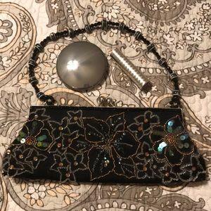 Handbags - Black beaded vintage party bag.